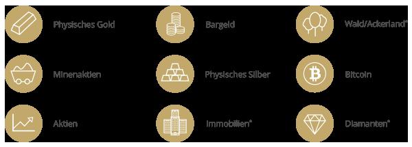 SOLIT Wertefonds - Anlageklassen Icons