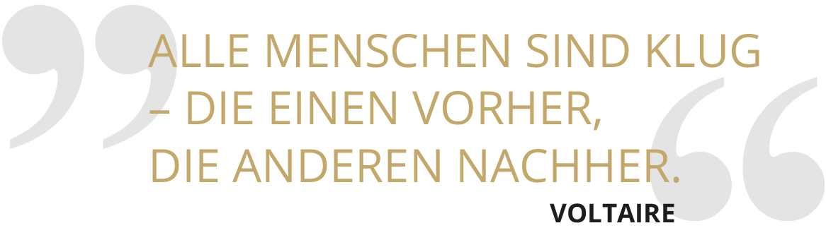 SOLIT Wertefonds - Zitat zum Thema Klug schmal - Voltaire